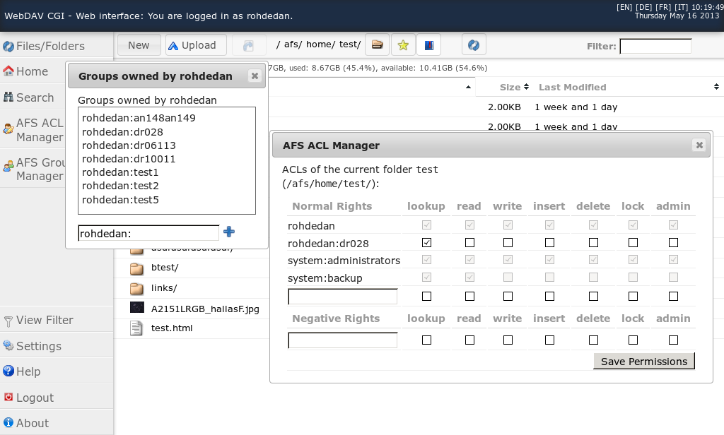 Web interface AFS dialogs