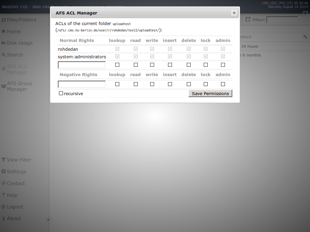 Web interface AFS ACL manager